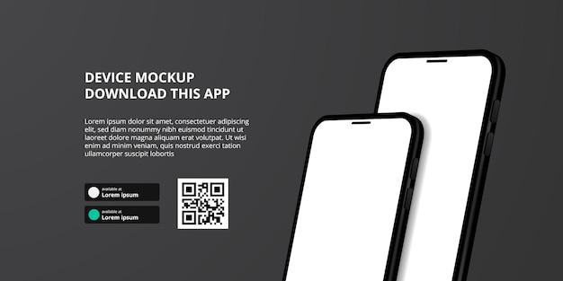 Publicidade de banner de página de destino para download de aplicativo para telefone celular, maquete de dispositivo de smartphone duplo 3d. botões de download com modelo de código qr de digitalização.