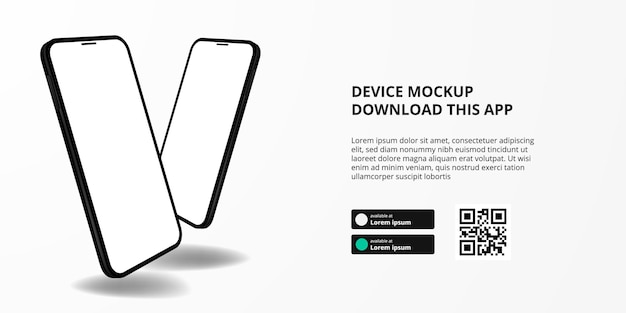 Publicidade de banner de página de destino para download de aplicativo para telefone celular, maquete de dispositivo flutuante 3d duplo dois smartphone. botões de download com modelo de código qr de digitalização.
