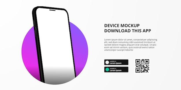 Publicidade de banner de página de destino para download de aplicativo para telefone móvel, maquete de dispositivo de smartphone em perspectiva 3d. botões de download com modelo de código qr de digitalização.