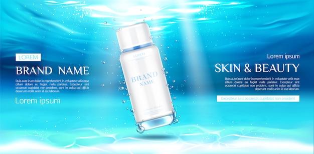 Publicidade de garrafa de cosméticos na superfície subaquática