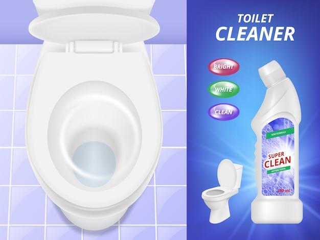 Publicidade de limpador de banheiro. pia e vaso sanitário com detergente líquido de poster limpo e fresco. imagem realista