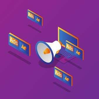Publicidade de marketing on-line de laptop com megafone