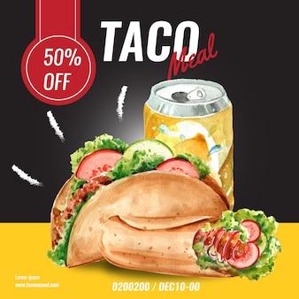 Publicidade de mídia social de restaurante de fast food. comida de aperitivo de lista de menu de borda de quadro