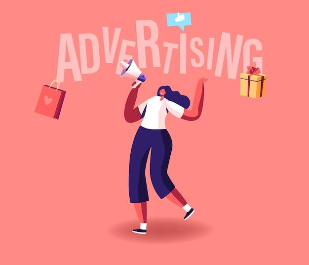 Publicidade de personagem promotora feminina