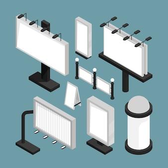 Publicidade de placas de rua. painéis de caixas de luz de painéis de led vazio maquete 3d modelos conjunto isométrico