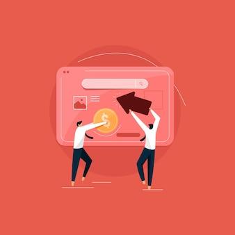 Publicidade de tecnologia paga por clique ou conceito de publicidade com pessoas da equipe e ícone de cliques Vetor Premium
