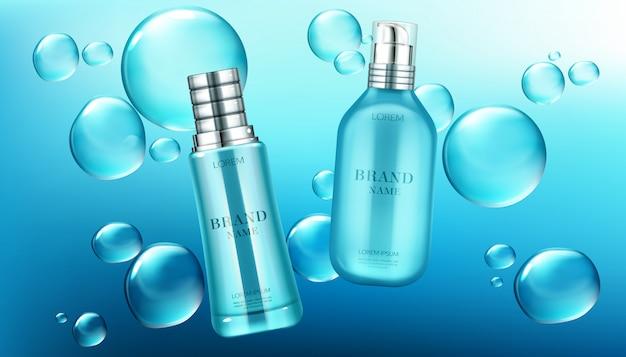 Publicidade de tubo cosmético, garrafa de cosméticos de beleza