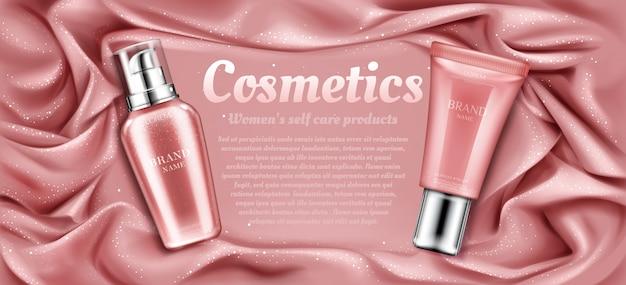 Publicidade de tubos de cosméticos, produto de beleza de spa natural