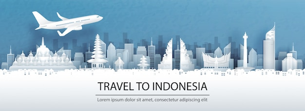 Publicidade de viagens com viagens ao conceito da indonésia com vista panorâmica