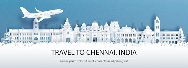 Publicidade de viagens com viagens para chennai, conceito de índia com vista panorâmica do horizonte da cidade e marcos mundialmente famosos em ilustração do estilo de corte de papel. Vetor Premium
