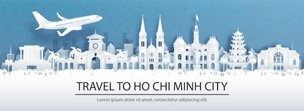 Publicidade de viagens com viagens para chennai, conceito de índia com vista panorâmica do horizonte da cidade e monumentos mundialmente famosos em ilustração vetorial de estilo de corte de papel.