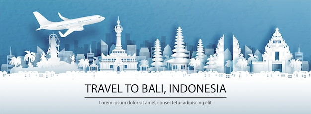 Publicidade de viagens com viagens para denpasar, bali. conceito de indonésia com vista panorâmica do horizonte da cidade e marcos mundialmente famosos em ilustração do estilo de corte de papel.