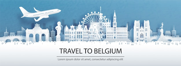 Publicidade de viagens com viagens para o conceito de bélgica com vista panorâmica do horizonte da cidade