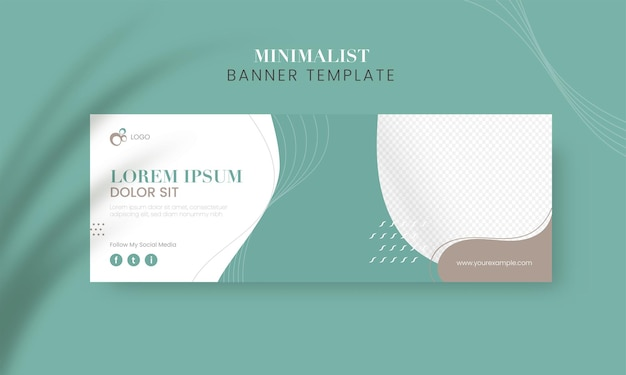Publicidade design de modelo de banner minimalista em azul-petróleo e cor branca.