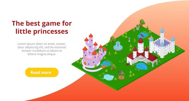 Publicidade do brinquedo do jogo ou castelo para a menina pequena princesa ilustração modelo. convite para jogo online ou compra da página do site de destino.
