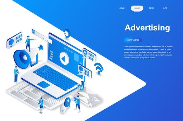 Publicidade e promo conceito isométrico moderno design plano.
