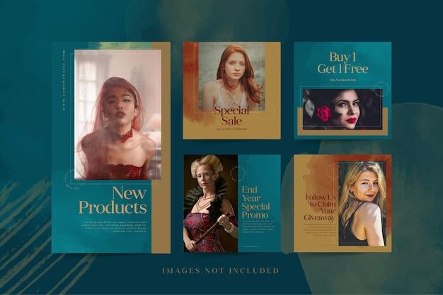 Publicidade em mídia social para modelos de postagem e história de produtos de moda