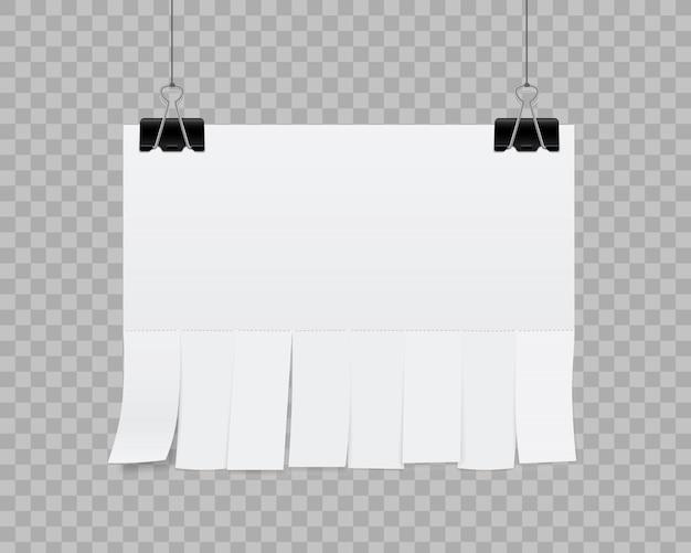 Publicidade em papel de folha em branco