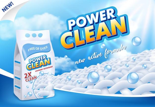Publicidade em pó para detergente para a roupa