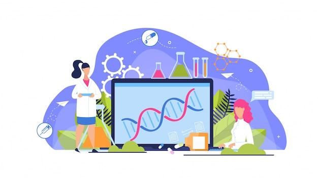 Publicidade flyer análise genética cartoon plana.