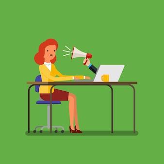 Publicidade na web e conceito de spam com empresária de desenho animado e megafone. design plano, ilustração vetorial.