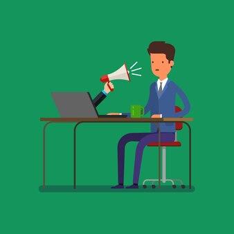Publicidade na web e conceito de spam com empresário de desenho animado e megafone. design plano, ilustração vetorial.