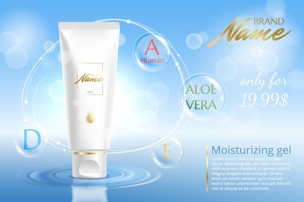 Publicidade para produtos cosméticos. creme hidratante, gel, loção corporal com vitaminas.