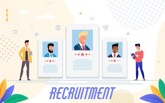 Publicidade para recrutamento, design plano