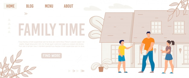 Publicidade poster escrito tempo para a família, desenhos animados.