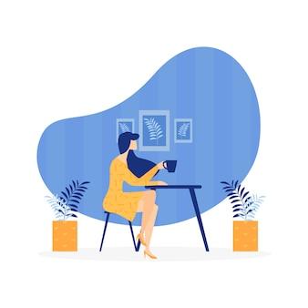 Publicidade poster feminino solidão cartoon plana.