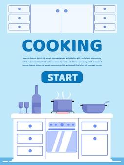 Publicidade poster inscrição cooking cartoon.