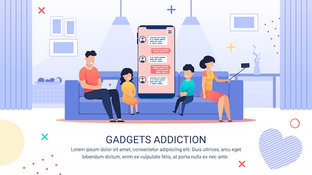 Publicidade poster inscrição gadgets vício.