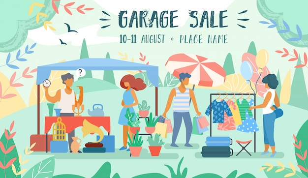 Publicidade poster inscription garage sale flat