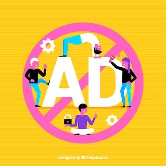 Publicidade proibida de fundo em design plano