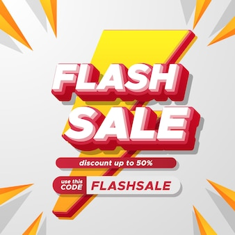 Publicidade promocional de desconto em venda flash com texto 3d e ícone de raio amarelo e vermelho