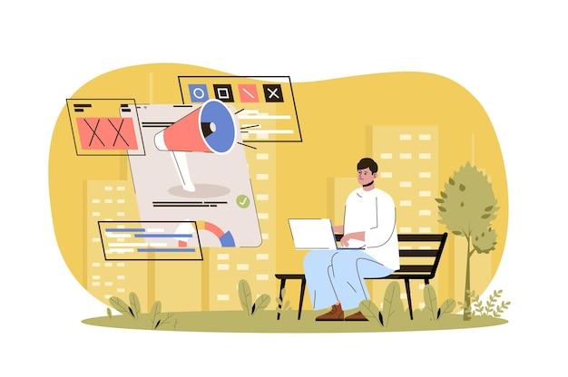Publicidade web conceito campanha publicitária em redes sociais comunicação online de sucesso