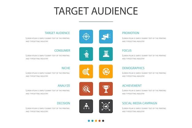Público-alvo conceito de opção de infográfico 10. consumidor, dados demográficos, nicho, ícones simples de promoção
