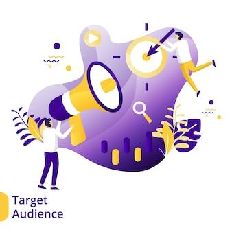 Público-alvo de ilustração plana, o conceito de otimização de mecanismo de pesquisa