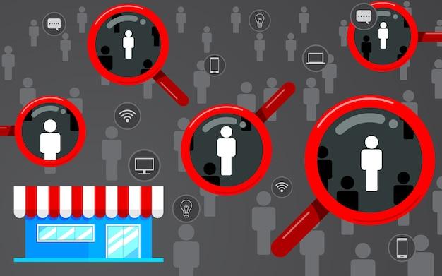 Público-alvo, foco no cliente. lupa, loja design plano, negócios de ícone