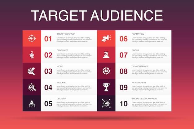 Público-alvo modelo de opção de infográfico 10. consumidor, dados demográficos, nicho, ícones simples de promoção