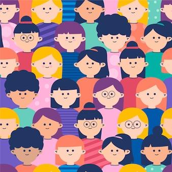 Público lotado de mulheres loop padrão