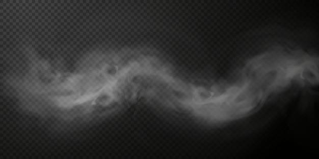 Puff de fumaça branca isolado em fundo preto transparente png efeito especial de explosão de vapor