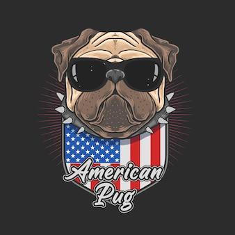 Pug americano com óculos escuros coll pug cão bonito