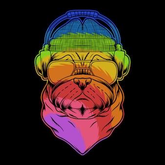 Pug cão auscultadores ilustração colorida