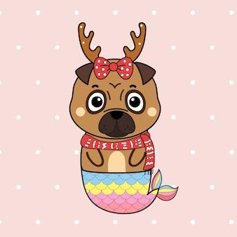 Pug cão sereia bonito dos desenhos animados mão desenhada para o natal.
