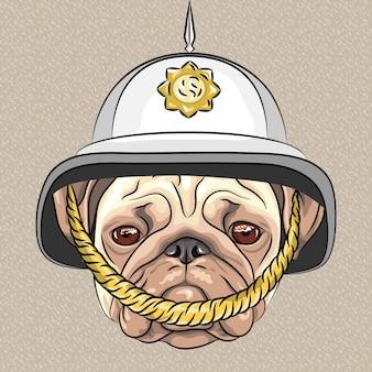 Pug de cão engraçado dos desenhos animados de vetor no capacete britânico