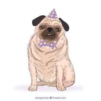 Pug desenhado à mão com chapéu de festa