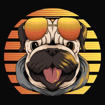 Pug dog retro sunset