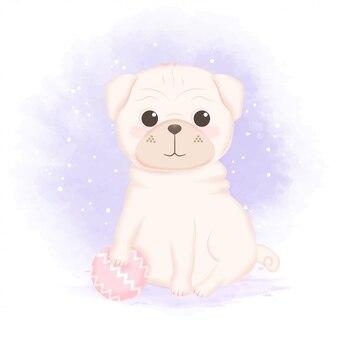 Pug e bola fofos mão ilustrações desenhadas