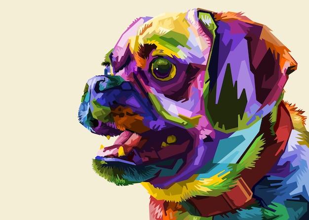 Pug fofinho no estilo pop art geométrico